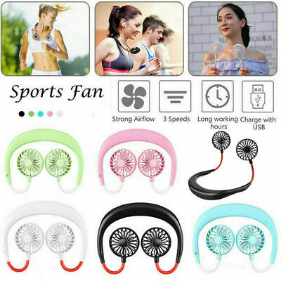 NEW Portable USB Rechargeable Fan Air Cooler Dual Head Neck Hanging Sports Fan R