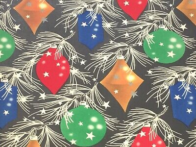 VTG CHRISTMAS WRAPPING PAPER GIFT WRAP 1940s PINE BOUGH ORNAMENTS ON BLACK WW2