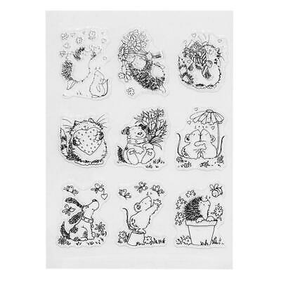 DIY Cute Hedgehog Pattern Transparent Clear Seal Card Scrapbooking Photo Album