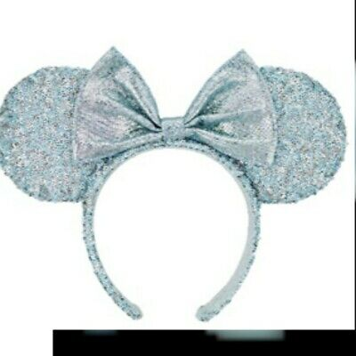 Disney Parks Frozen Arendelle Aqua Minnie Mouse Ears Ear Headband On Hand