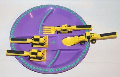 Constructive Eating Set, Construction Plate with Spoon, Fork & Pusher
