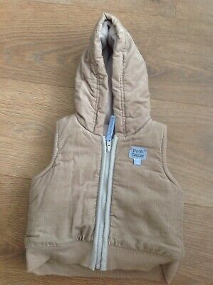 Mothercare Disney Pooh Bear Baby Boys Brown Hooded Gilet Age 0-3 Months D17