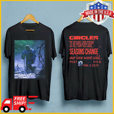 Post Malone Circles Kneeling Hollywood's Bleeding album 2019 T Shirt Black S-6XL