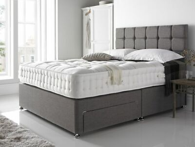Grey Chenille Divan Bed Set -Mattress-Headboard-Drawers-Free Delivery