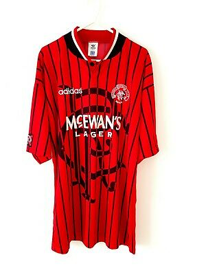 Rangers 3rd Shirt 1996. Medium. Adidas. Red Adults Short Sleeves Football Top M.