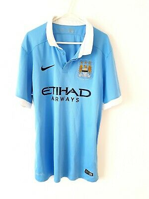 Manchester City Home Shirt 2015. Large. Nike Blue Adults Man Football Top Only L