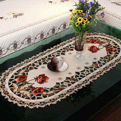 Vintage Embroidered Dining Table Oval Tablecloth Wedding Party Table Cover Decor