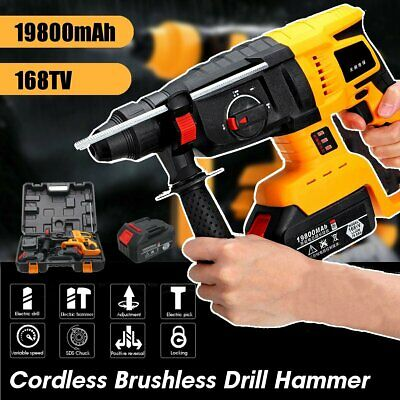 800W 4800bpm Cordless Brushless Electric Hammer Drill Impact Driver w/ Battery