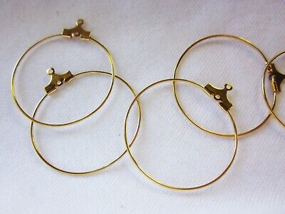 20 Gold Coloured 30mm Earring Hoops #0213 Jewellery Making Beading Findings