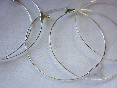 20 Large Silver Coloured 50mm Earring Hoops #0214 Jewellery Making Beading Craft
