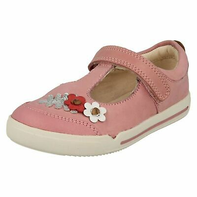 Girls Kids Clarks Mini Blossom Hook & Loop Casual T Bar Flat Leather Shoes Size