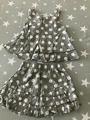 3 Pommes Girls Grey white Spotted Top & Skirt Outfit (Age 3 Years)