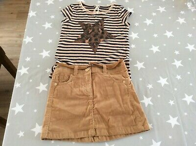 Next Girls Corduroy Skirt & Top with sequin star motif Age 6Y (excellent)