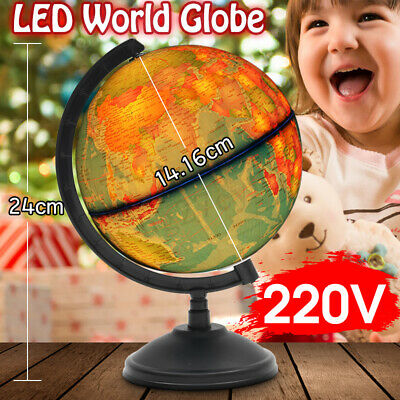 17CM LED World Globe Earth Map Rotating Stand Geography Kid Night Light Toy Gift