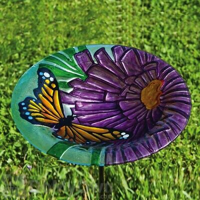 Evergreen Butterfly and Flower Glass Bird Bath With Stake - 28cm Diameter #2E793
