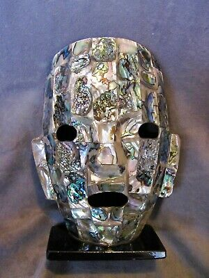 "Mayan Abalone Shell Death Mask - X-Large over 7"" tall"