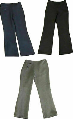 GIRLS PULL UP SCHOOL TROUSERS HALF ELASTICATED WAIST  Available In Black Grey an