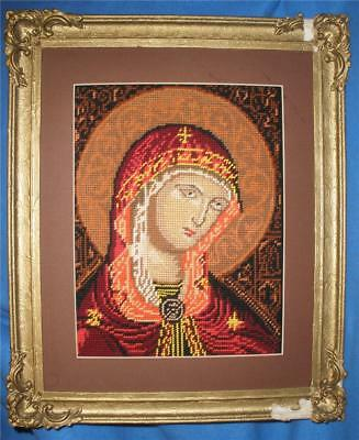 Stunning Hand Worked Framed Tapestry Religious Mary