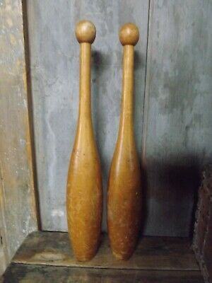 Vintage Indian Clubs -Pair -nice 17 inch tall