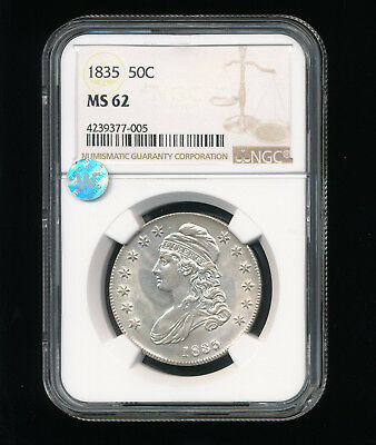 1835-P Capped Bust Silver Half Dollar 50C NGC MS 62 Type 1, Lettered Edge RARE