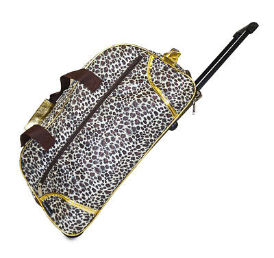 Womens Rolling Wheeled Duffle Bag Duffel Carryon Carry On Ladies Travel Leopard
