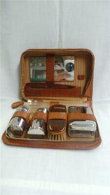 RETRO VINTAGE MEN'S TOILETRIES SET IN LEATHER CARRY CASE GERMANY CIRCA 1950's