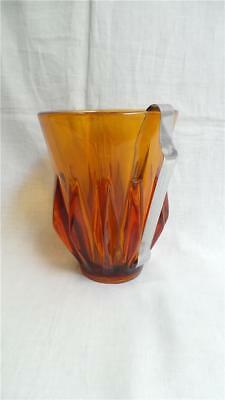 Retro Vintage Amber Glass Ice Bucket With Tongs