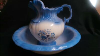 Stunning Ceramic Reproduction Jug And Bowl Blue And White Large