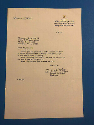 Conrad N. Hilton (Hotelier, Founder Hilton Hotels) Typed Signed Letter 1/4/1978