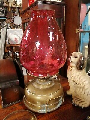 Large Antique Cranberry Glass heater oil lamp