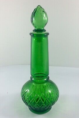 Vintage AVON Genie In A Bottle Green Glass Perfume Cologne 1960s Collectable