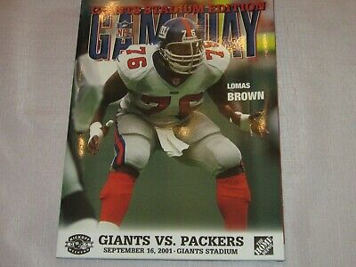 9/16/2001 GIANTS vs GREEN BAY PACKERS GAMEDAY PROGRAM VERY RARE- MINT 9/11
