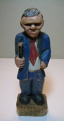 Vtg Hand-Carved Wood Statue-David Pryor Arkansas Governor/US Congressman/Senator