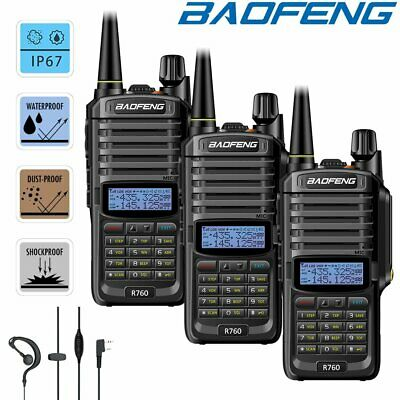3x Baofeng Walkie Talkies Rechargeable IP67 Waterproof UHF VHF FM Radio = UV-9R
