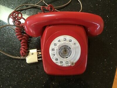 Vintage ROTARY TELEPHONE colour RED is in EXCELLENT Working Condition