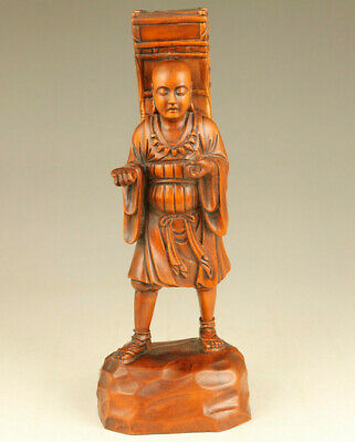 chinese old boxwood hand carved Xuanzang Buddha statue netsuke table decoration