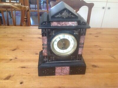 Slate And Pink Marble Mantle Clock