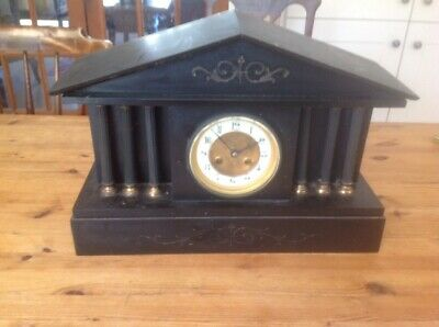 Large Striking  Architectural Slate Mantle Clock