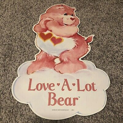 Rare Vintage 1982 Care Bears Retail Hanging 2 Side Store Display Love A Lot Bear