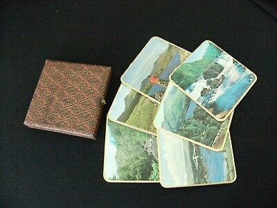 Vintage boxed set Win-el-ware coaster set 6 souvenir of Wales 15x15cm retro VGUC