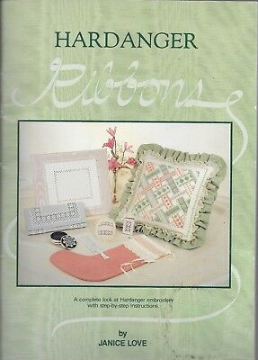 VGUC Hardanger ribbons Janice love embroidery instructional stitch book patterns