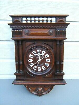 French Mahogany Vineyard wall clock  striking key & pen working beautiful