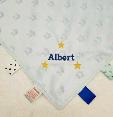 Taggie Taggy Blanket comforter personalised baby gift new born present embroider
