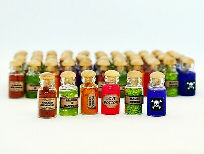 Dolls House Miniature Halloween Potions Potion Witch Spells Book Cauldron Broom