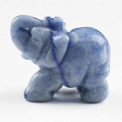 Hand Carved Natural Jade Stone Blue Mini Aventurine Carved Elephant Statue Gifts