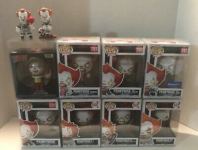 Funko Pop Pennywise IT & IT Chapter 2 Exclusive Lot with Case Protectors & More!