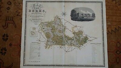 C. & J. GREENWOOD Map of the County of Berkshire Hand-coloured Engraving 1829