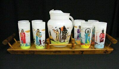 Acee Blue Eagle Famous Oklahoma Indians pitcher glasses tray complete set Knox