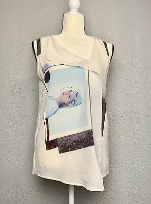 Zara WB Collection White Tank Picture Of Woman Gold Details M