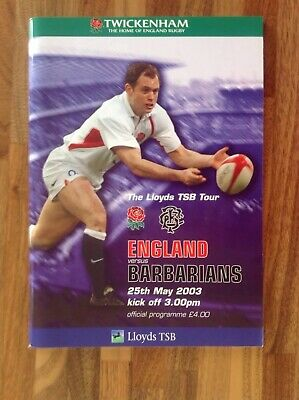 England V Barbarians Rugby Union Programme 2003